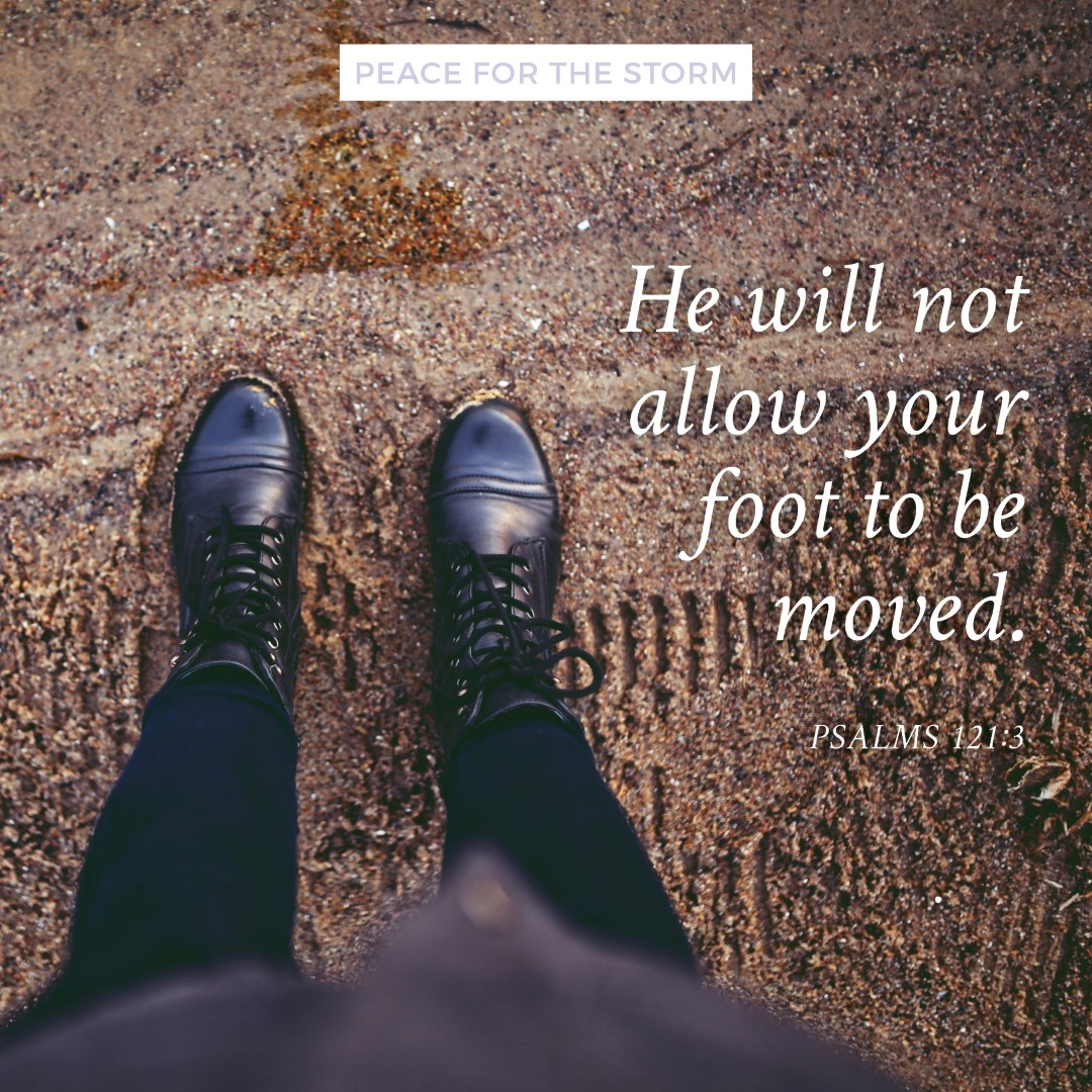 Peace for the Storm Quotes - He Will Not Allow Your Foot To Be Moved